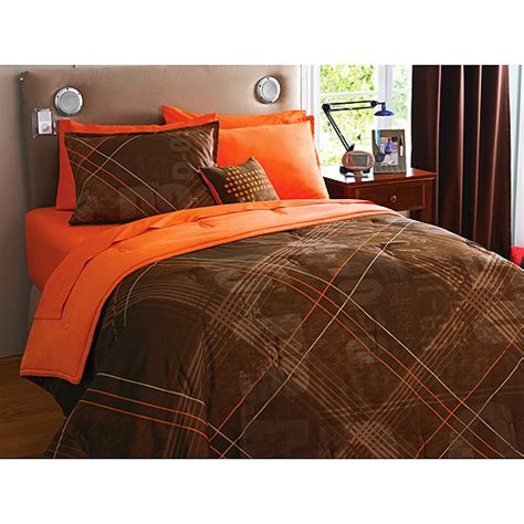 orange and brown bedding your zone reversible comforter sham set brown recon