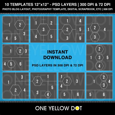 photo layout download 12x12 square and hexagon photo layout templates psd layers