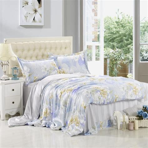 spring bedding 2015 wide sky blue flower garden sided 4pcs 100 mulberry