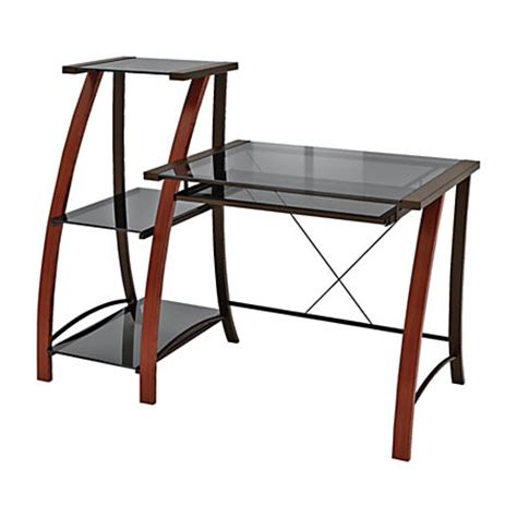 z line designs triana wood desk with bookcase cherry by