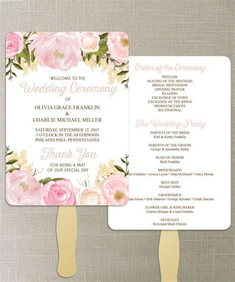 wedding program fans cheap instant floral diy printable wedding fan