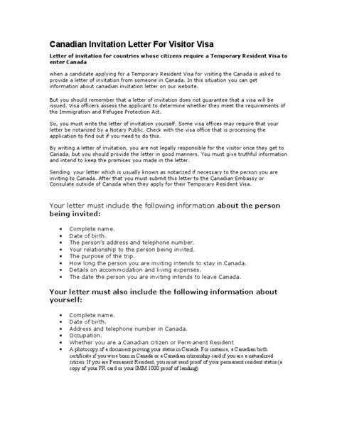 invitation letter for tourist visa canada invitation letter sle for canadian visit visa