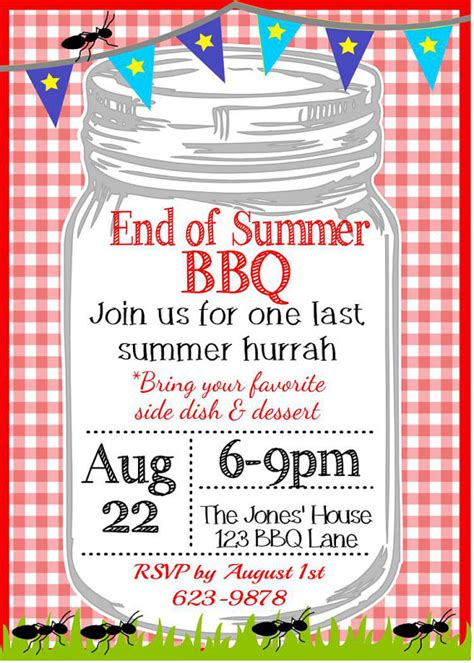 Come With Me End Of Summer Bbq Invites by Backyard End Of Summer Bbq Invitation By
