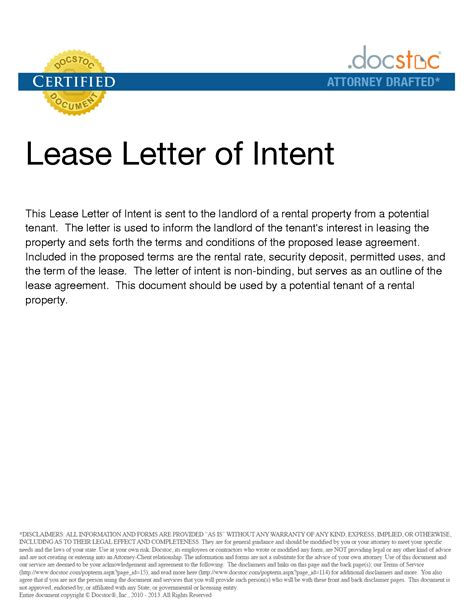 Lawdepot Letter Of Intent Sle Letter Of Intent Commercial Real Estate Lease Docoments Ojazlink