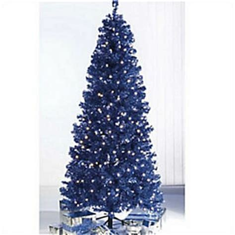 pre lit blue or red sparkle tinsel christmas tree white