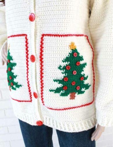 crochet pattern christmas jumper christmas tree sweater jacket crochet pattern maggie s