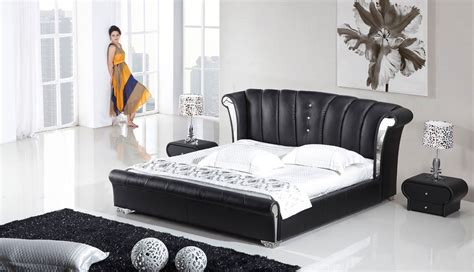 Black Leather Bedroom Set | 3 piece vela modern wing genuine black leather bedroom set