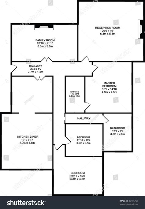 typical floor plan of a house typical floor plan of a house in black outline stock photo