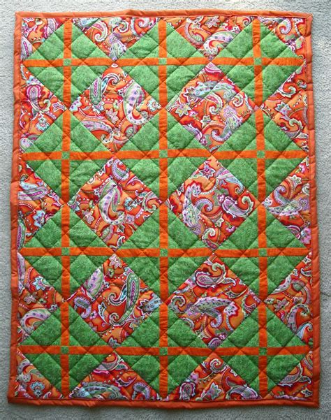 Orange Quilt Crafter Without A Cat Orange And Green Paisley Quilt