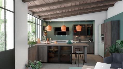 cuisine sur mesure en bois ouverte sur le salon ambiance