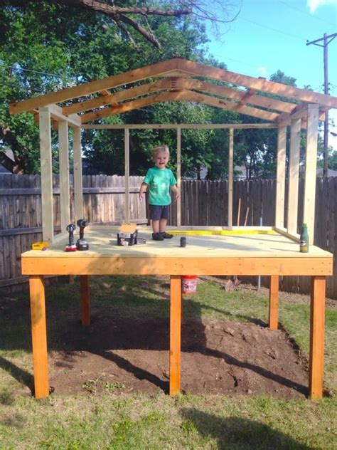 build a backyard fort he laid out 4 wooden boards in the backyard what he built for his lucky 2 year old amazing