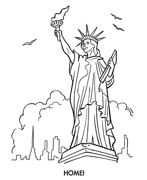 the beautiful statue of liberty coloring page