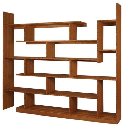 modern shelves bamboo stagger major amber contemporary bookcases