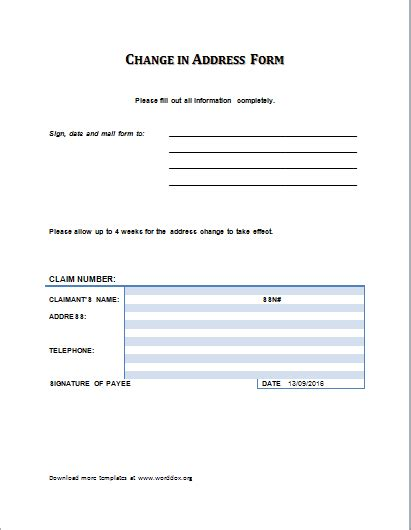 The Contents Of The Change Of Address Form Are Pretty Simple And Standard In Most Cases They Change Of Address Form Template