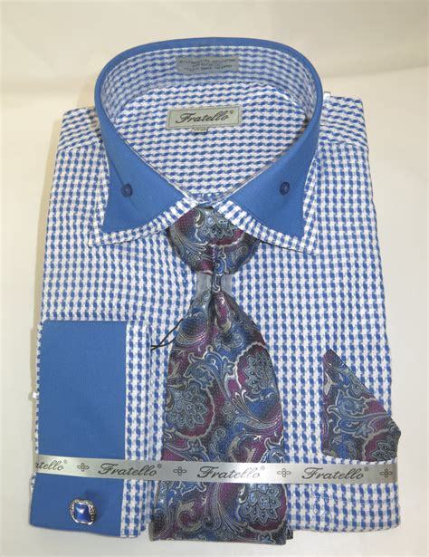 pattern dress shirt and tie fratello frv4136p2 blue men s french cuff dress shirt with