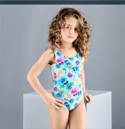 child model swimsuit balneaire 2016 digital print child models girls in bikini