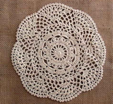 Handmade Doilies - 8 quot handmade cotton crochet doilies beige 2 pack
