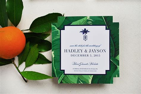 Leaf Themed Wedding Invitations by Tropical Banana Leaf Wedding Invitations