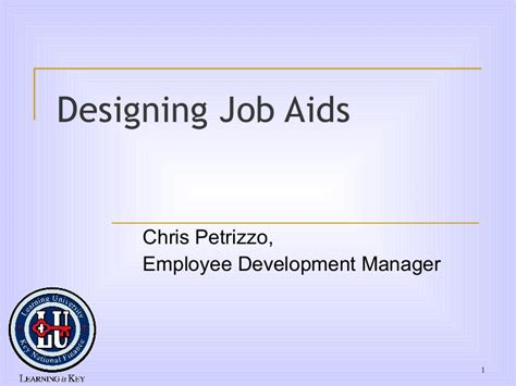 Designing Job Aids How To Create A Aid Template