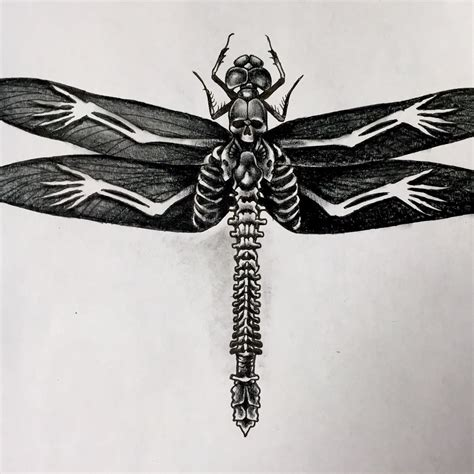 twisted image tattoo another variation on the skull dragonfly theme by