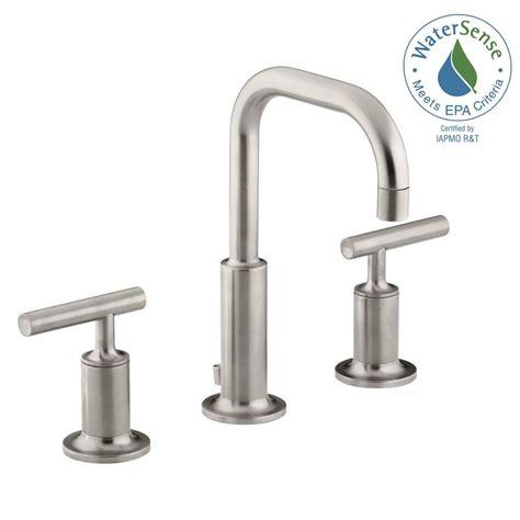kohler purist bathroom faucet kohler purist 8 in widespread 2 handle water saving bathroom faucet in vibrant brushed nickel k