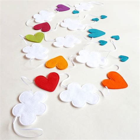 Felt Handmade - felt handmade cloud and rainbow bunting by be
