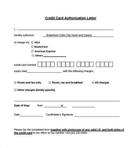 authorization letter credit card sle credit card authorization letter 9 free