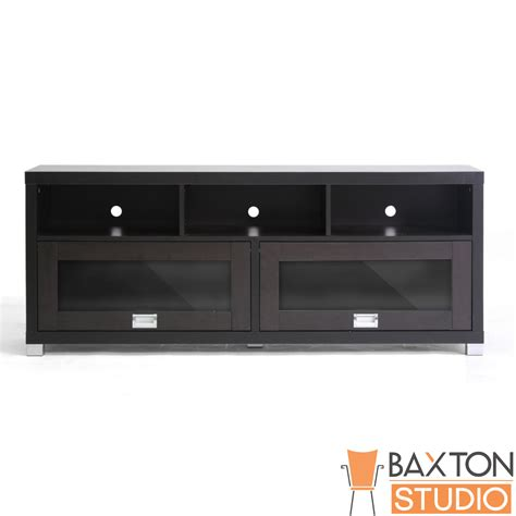 Tv Stand Glass Doors Baxton Studio Swindon Modern Tv Stand With Glass Doors
