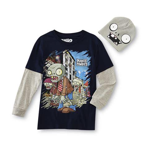 3 In Beanie Hat Tshirt popcap plants vs zombies boy s layered look t shirt beanie hat