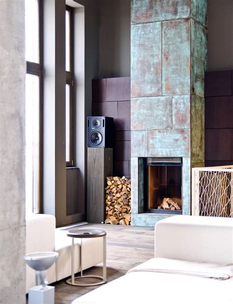 modern fireplace industrial decor interior design ideas