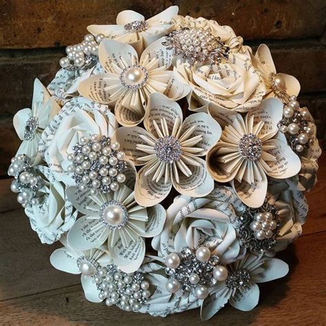 Paper Flower Bouquet Craft - paper flower bouquet with gems wedding bouquet