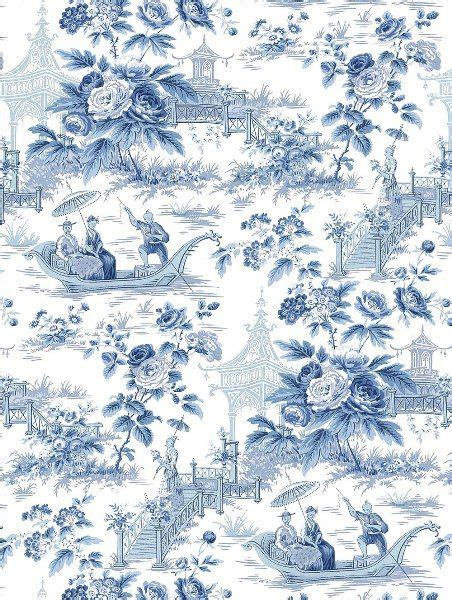 wallpaper toile blue a classic toile with a chinoiserie look фоны pinterest