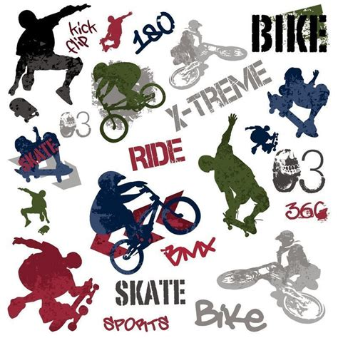 Skateboard Bedroom Ideas extreme sports wall stickers skateboard bmx bike 25 decals