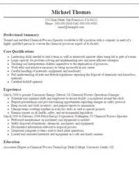 Chemical Operator Resume by Operator Resumes Sle Resumes Livecareer