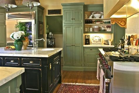 pictures of kitchens traditional green kitchen cabinets rustic black island using white granite countertop for