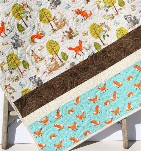 Trendy Crib Bedding Forest Baby Quilt Boy Or Gender Neutral Modern Trendy