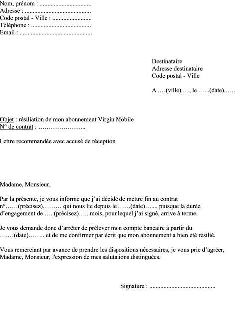 Modèle de lettre résiliation abonnement Virgin Mobile