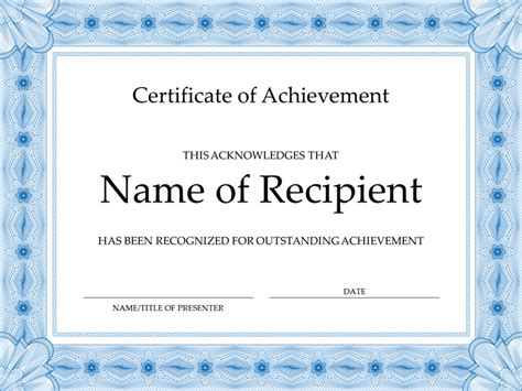 template for a certificate of achievement certificate of achievement blue