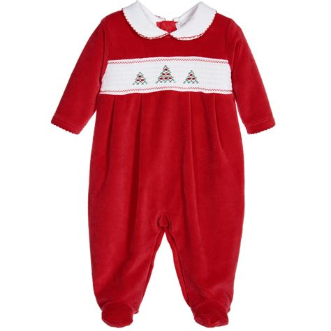 kissy kissy red smocked velour christmas babygrow