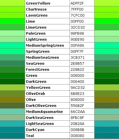 blue green color names blue green color names