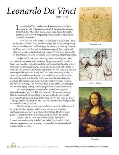 leonardo da vinci biography for students 428 best images about art lesson worksheets on pinterest