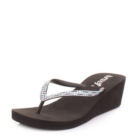 flip flop wedge sandals reef luxe black teal silver wedge flip