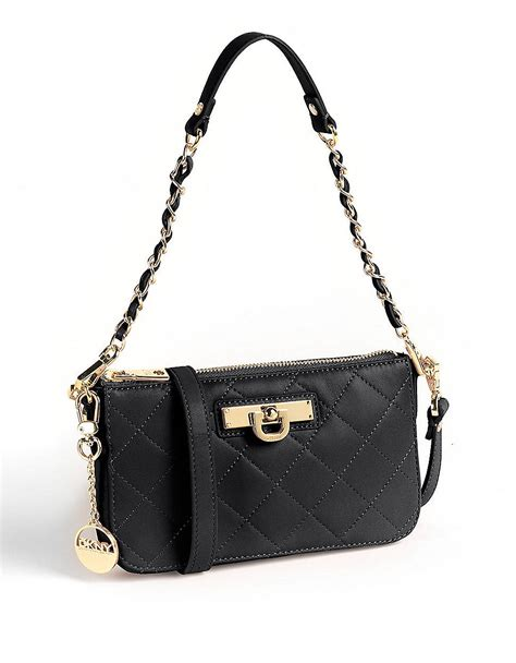 Dkny Black Quilted Handbag by Dkny Nappa Convertible Quilted Leather Clutch Handbag In