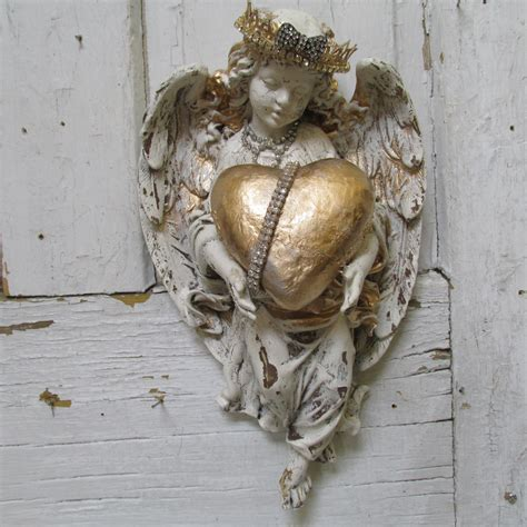 angel home decor angel with heart statue wall hanging home decor shabby