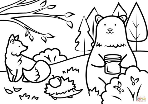 Printable Animal Coloring Pages by Autumn Animals Coloring Page Free Printable Coloring Pages