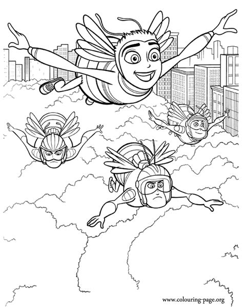 bee movie barry and the pollen jocks coloring page