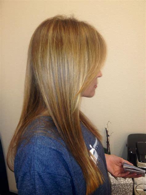 tinted short hair cut fall haircolor warm tones highlights tint long layers
