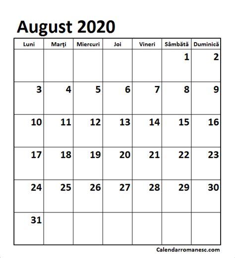 calendar august  calendarul romanesc printabil