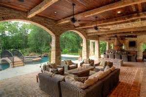 tuscan farmhouse plans outdoor kitchen amp living room areas backyard patios
