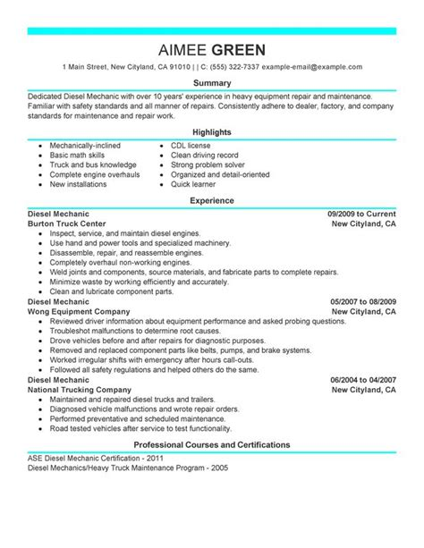 diesel mechanic resume sle